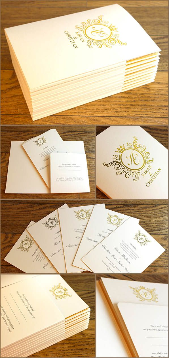 These wedding invitations consist of a metallic gold foil-block A5 pocket folder with five inserts in each. The inserts are 600gsm Arcoprint-Milk duplexed board, litho-printed in grey both sides, metallic gold edge colour and smaller gold foil blocked crest on each.