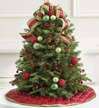 Small Floral Arrangements   Burgundy and Green Holiday Tree