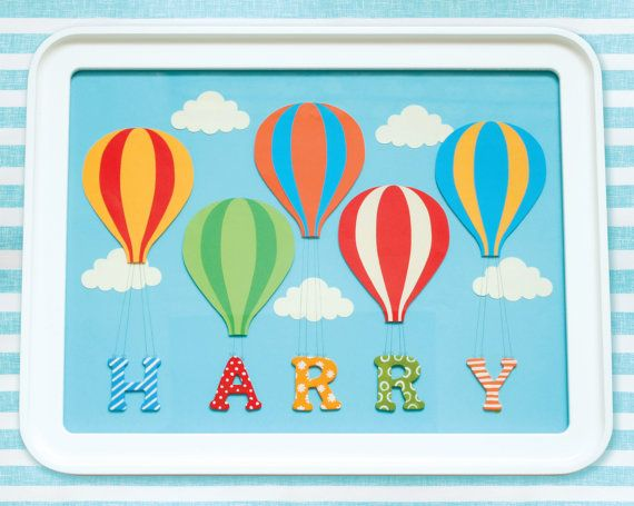 Personalised Custom Made Baby or Child Name Art Print, Hot Air Balloon, Nursery Art £35.00