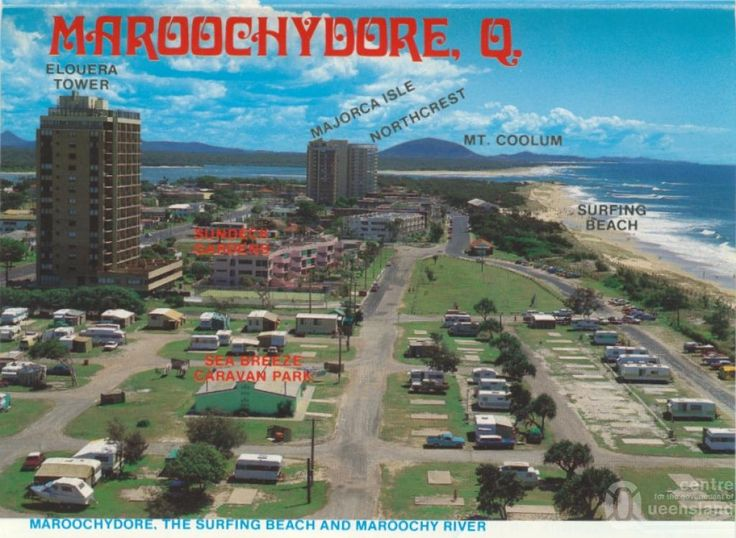 Maroochydore 1960s - Google Search.  Large caravan park adjacent to the surfing beach.