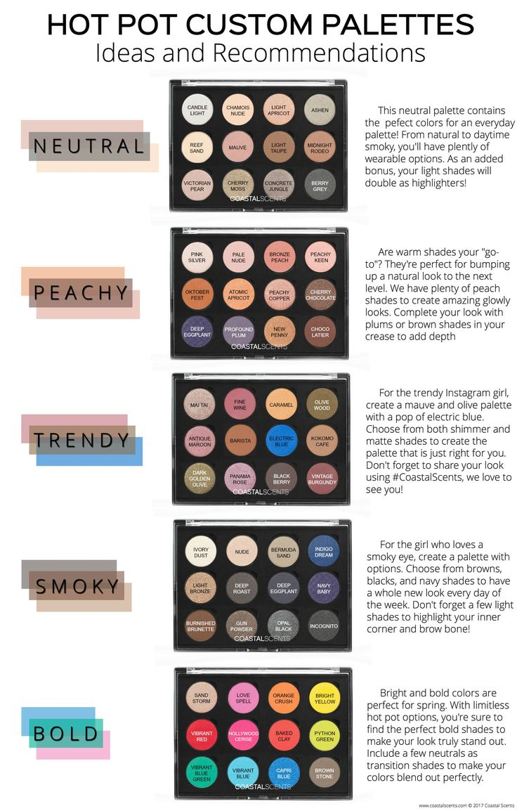 Do you need Hot Pot Custom Palette inspiration? We've put together a few of our favorite Custom Palettes below! Choose from Neutral, Peachy, Trendy, Smoky, and Bold. You can create your own custom palette in One, Twelve, and Twenty Eight sizes here. With hundreds of Hot Pots to choose from, your options are endless!
