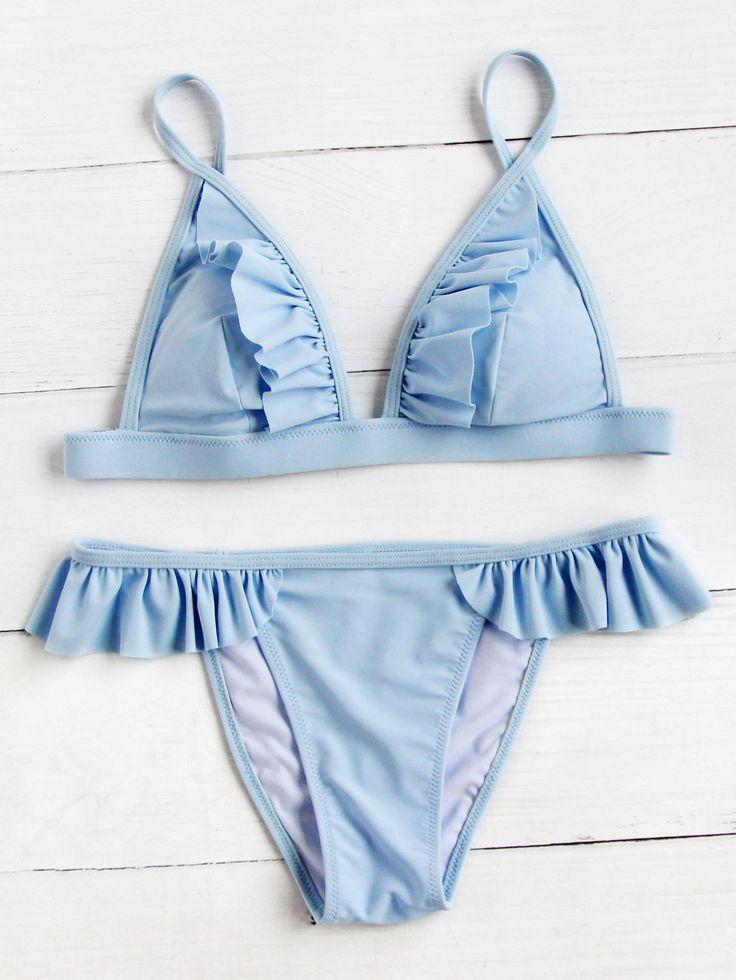 ✨ pinterest // _bineba_ Shop Frill Detail Triangle Bikini Set online. SheIn offers Frill Detail Triangle Bikini Set & more to fit your fashionable needs.