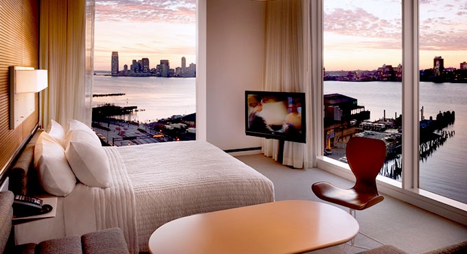 A Hudson Studio's floor-to-ceiling windows frame the Hudson River and Manhattan   The Standard hotel ...great deals!