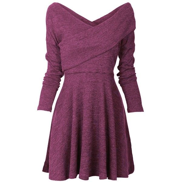 Tempt Me Womens Long Sleeve Knitted Sweater Pullover Swing Solid Slim... ($21) ❤ liked on Polyvore featuring dresses, long sleeve dress, wrap midi dress, purple long sleeve dress, purple midi dress and long sleeve mid calf dress