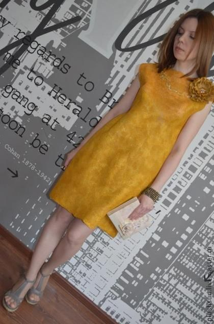 Валяное платье «Солнечное» - жёлтый,однотонный,маленькое платье,платье ручной работы
