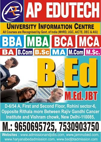 MDU Haryana B.Ed admissions are open now. Get direct B.Ed Admission 2014 though AP Edutech. It is a best MDU B.Ed Admission Center in Delhi, India. Here students can get direct MDU B.Ed admission counseling for 2014-15 sessions. To know more about B.Ed course please visit here- http://www.jammubed.com/news/mdu-haryana-b.ed-%7C-b.ed-admission-2014-%7C-mdu-b.ed-admission-center-60
