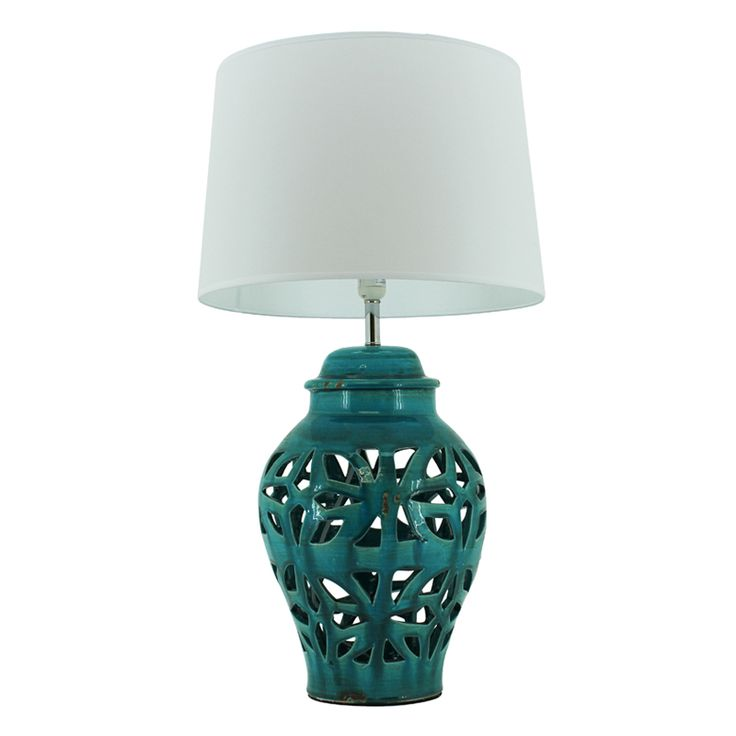 Ceramic Ibiza Lamp | Turquoise | 45x80cm by Statement Ceramic Lamps on THEHOME.COM.AU