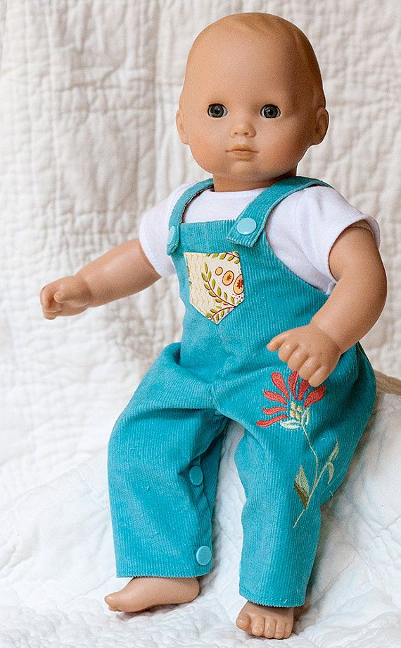 "Bitty Baby Doll Clothes, Corduroy Overalls w/ Flower Applique and White T-Shirt, Fits 15"" Dolls"