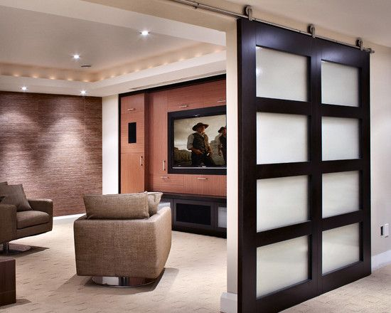 Love the big sliding door modern media room design for Room door design for home