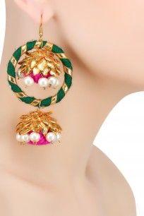 Bright Green Traditional Gota Jhumki Hoop Earrings
