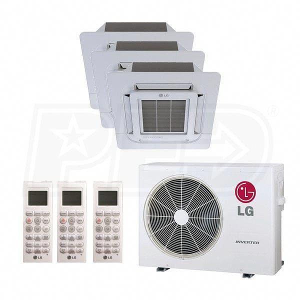 Lg L3h36c09181800 A Ceiling Cassette 3 Zone System 36 000 Btu Outdoor 9k 18k 18k Indoor 21 0 Seer Heat Pump System Ductless Heat Pump Ductless Heating And Cooling