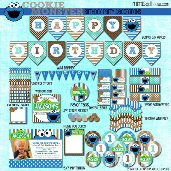 Cookie Monster Party Decorations- Printable Cookie Monster Birthday Party Decorations PDF/JPEG via Etsy  sc 1 st  Pinterest : cookie monster paper plates - pezcame.com