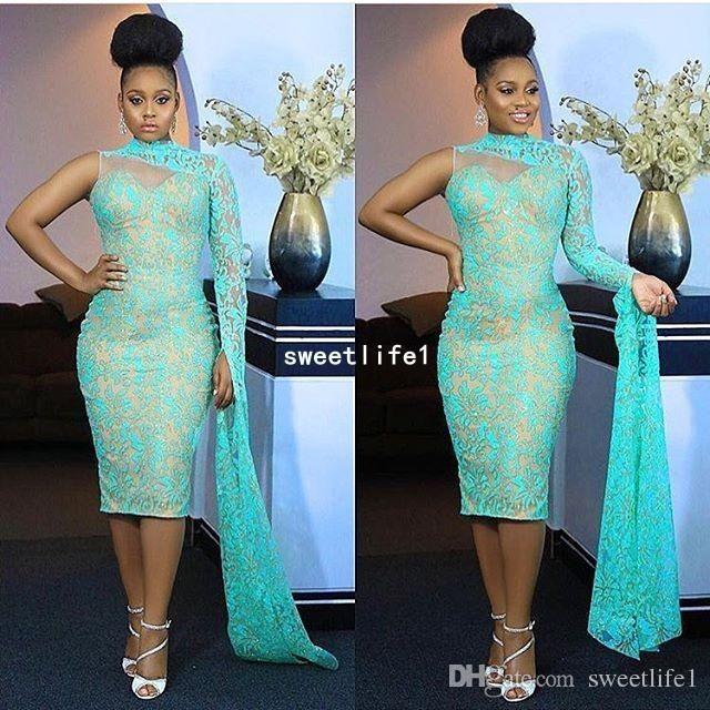e888960732 Nigeria Style 2019 One Shoulder Evening Dresses High Neck Lace Tea ...