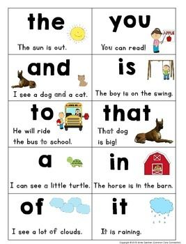 Sight word sentence reading book ~ 1st 100 Fry Words.  Words are presented 10 per page. ($)