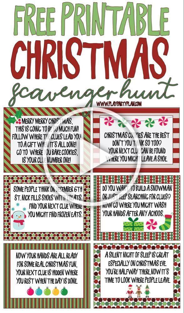Free printable Christmas scavenger hunt clues for kids or