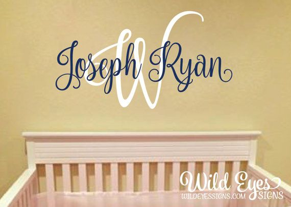 Monogram Wall Decal Nursery Name Initial and Name by WildEyesSigns