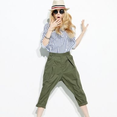 Western Style Loose Baggy Pants Army Green