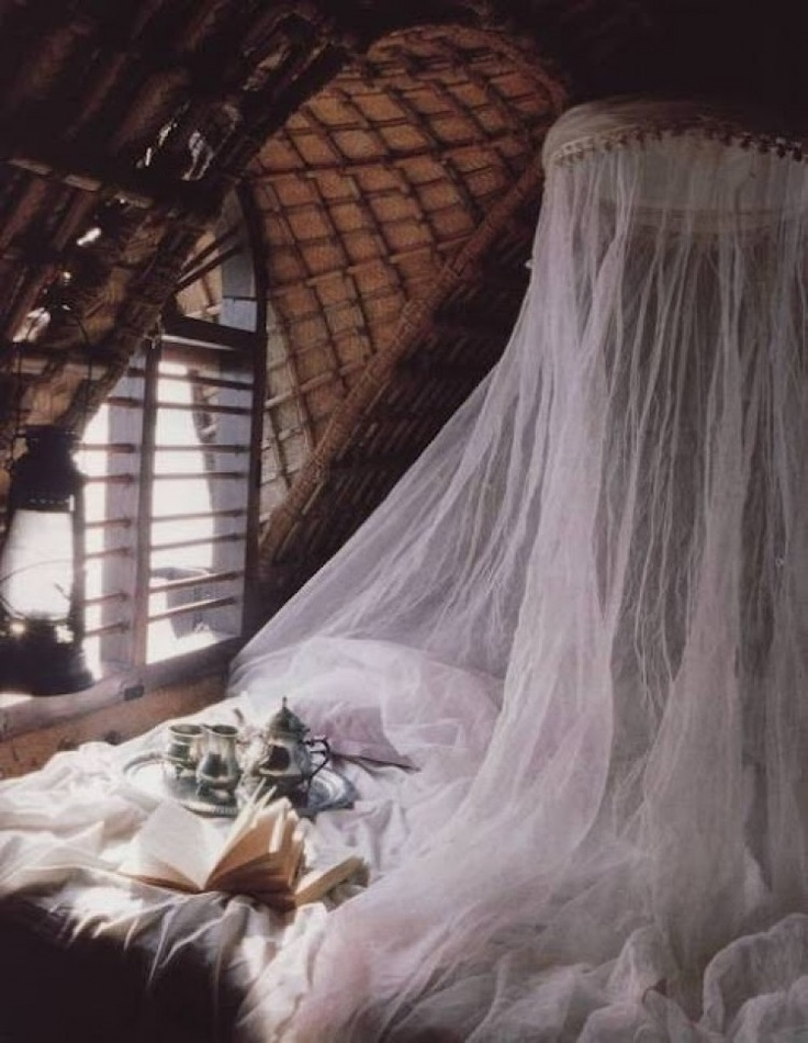 weekend morning tea / ruffled sheets / tulle netting / exotica ♥