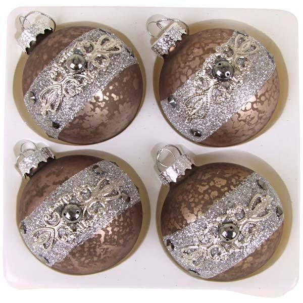 Glas-Weihnachtskugel Antique 4er Tannenbaumkugeln Weihnachtsbaumkugeln Baumkugel