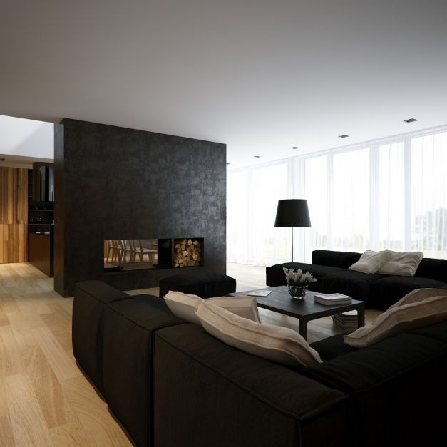 Black And White Lofts, Simplistic Yet Modern: Contemporary Black White Pine Lounge Area