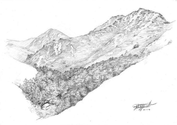 Back Ridge Hut. Kaweka Ranges, NZ. Drawn en plein air by Felicity Deverell. The Art of a Hut Collection
