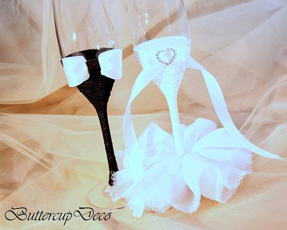 Wedding Glasses Set of 2 hand decorated Champagne by ButtercupDeco, $45.00