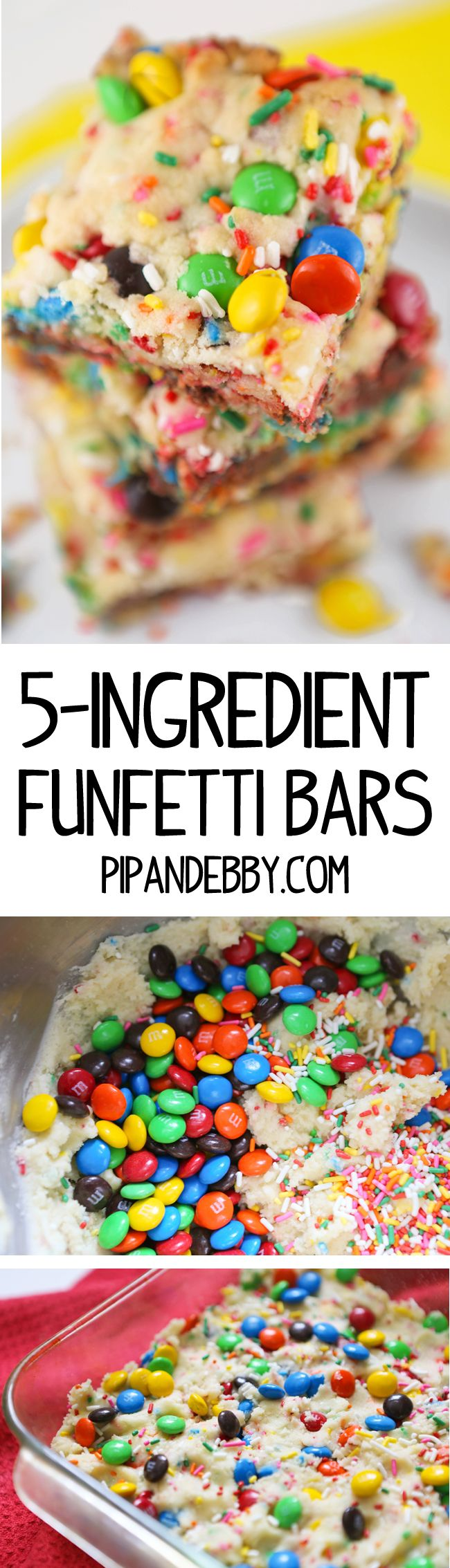 Kids will be all over these Funfetti Bars (you will be, too) and there are only FIVE ingredients!
