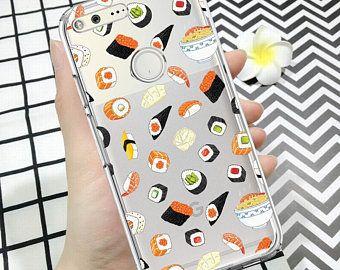 Pixel sushi case,pixel 2 case, pixel 2xl case,pixel case,pixel xl case,food,sushi,clear pixel case,google case,case for pixel 2xl,rubber