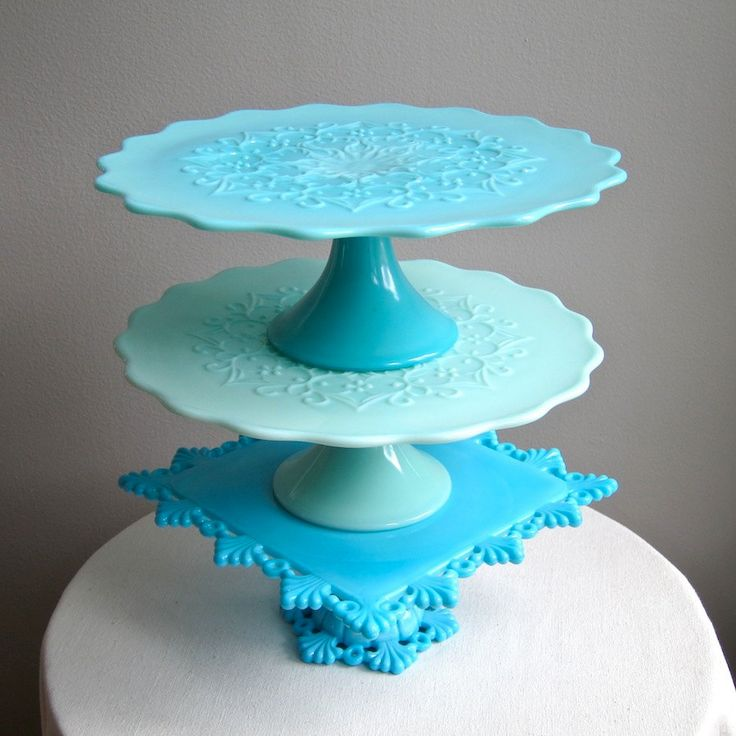 Turquoise Blue Milk Glass Pedestal Cake by BarkingSandsVintage, $425.00