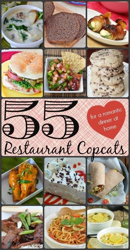 You will love this incredible list of 55 restaurant copycat recipes! They're good for any occasion, but they're especially wonderful for a romantic date night at home or a Valentine's Day dinner at home! #copycatrecipes #restaurantcopycatrecipes #datenight #romanticdinner via @allshecooks