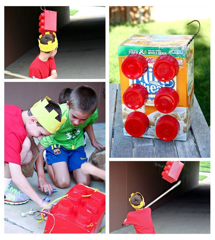 Outnumbered: The Lego Birthday Party Bash!  Lots of great ideas including this Lego piñata!