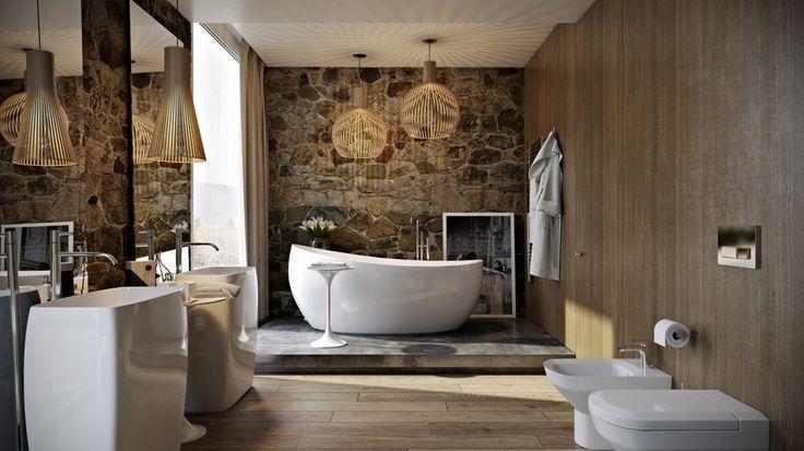 Álomfürdőszoba - fa, kő, fény és árnyékok, kényelmes és elegáns berendezés - Villeroy & Boch