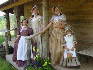 Trajes y disfraces para caracterizarse como colonos americanos: Señoritas del pasado