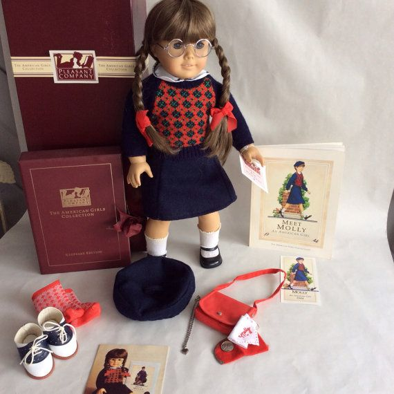 Vintage American Girl Molly McIntire, by Pleasant Company, with original clothing and accessories.