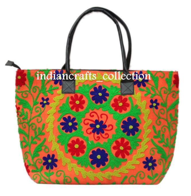 Indian Cotton Suzani Woman Shoulder Embroidery & Handbag Tote Bag Beach Boho Bag #Handmade #ShoulderBag