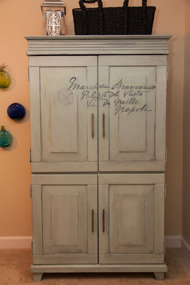 Antique Letter Script Armoire Makeover featured at Knick of Time Tuesday - http://knickoftimeinteriors.blogspot.com/2013/10/knick-of-time-tuesday-107.html