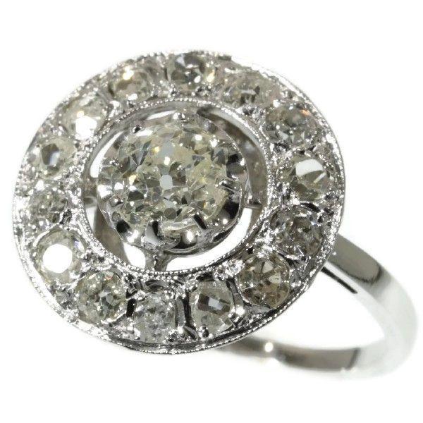 Online veilinghuis Catawiki: Cluster Art Deco ring met 1.65 crt aan diamanten - ca. 1920