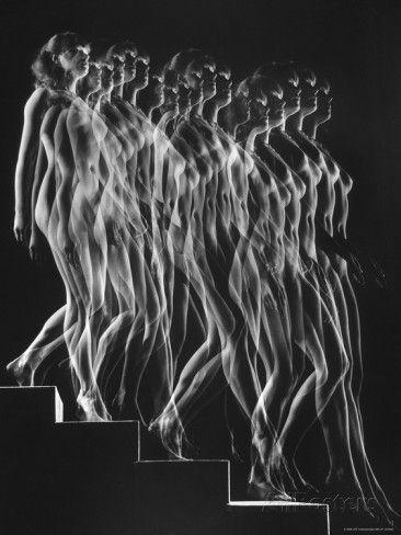 Stroboscopic Study of a Nude Descending Staircase Premium Photographic Print by Gjon Mili - at AllPosters.com.au