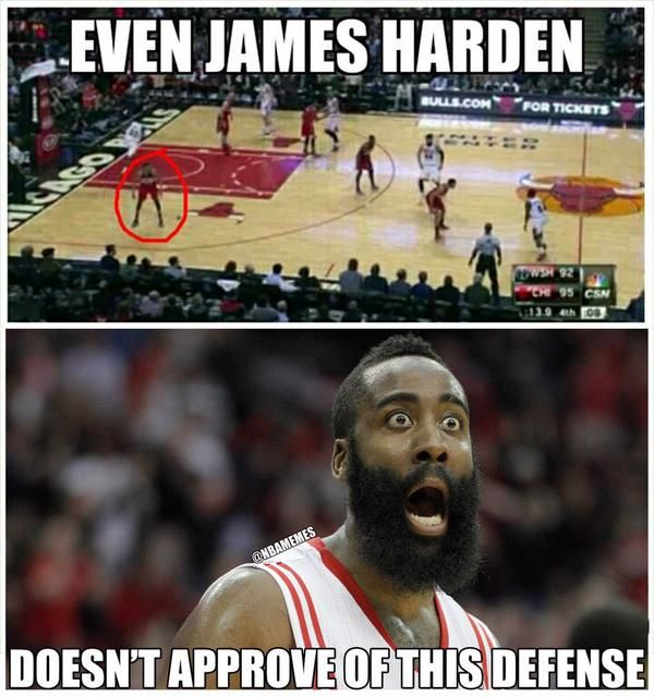James Harden disapproves of this defense? :O - http://nbafunnymeme.com/nba-memes/james-harden-disapproves-of-this-defense-o