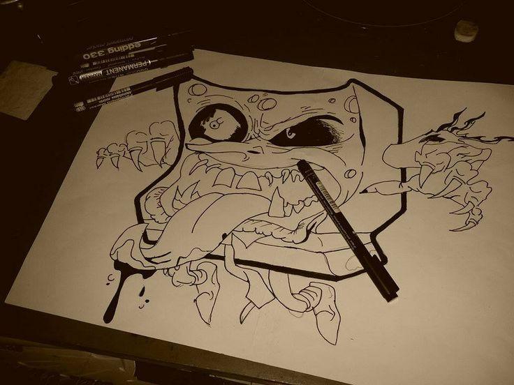 evil spongebob Draw