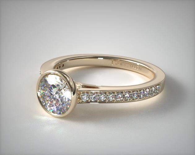 18K Yellow Gold Bezel Set Pave Diamond Engagement Ring