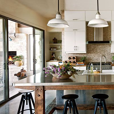 """Urban Rustic Kitchen-- just saw Stainless steel counters being used on episode of """"Kitchen Cousins."""" Wonder what upkeep would be like?"""