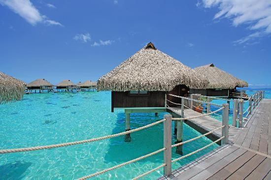 Overwater bungalow on our belated honeymoon on the island of Moorea. Tahiti, French Polynesia
