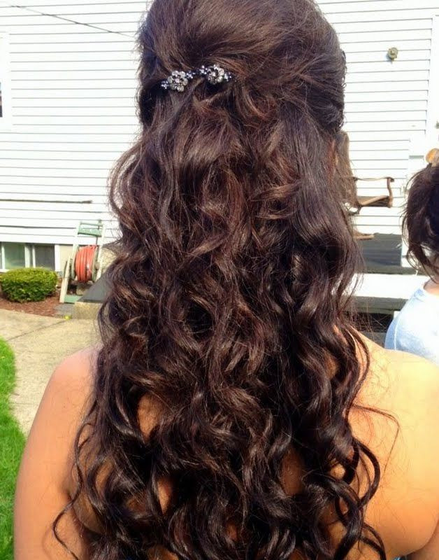 Wedding Hair Inspiration Loose Wavy Curls Pulled Back