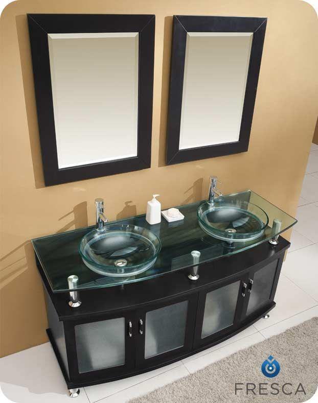 fresca contento 60 modern double sink bathroom vanity mirrors u0026 faucets