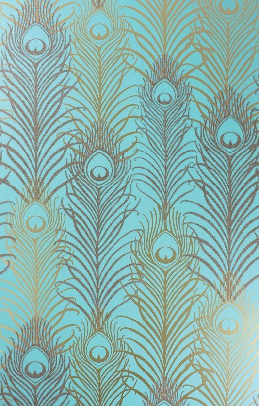 Peacock Wallpaper - A signature wallpaper design by Matthew Williamson featuring peacock feathers in metallic and antique gold with tiny reflective beads on a jade background.