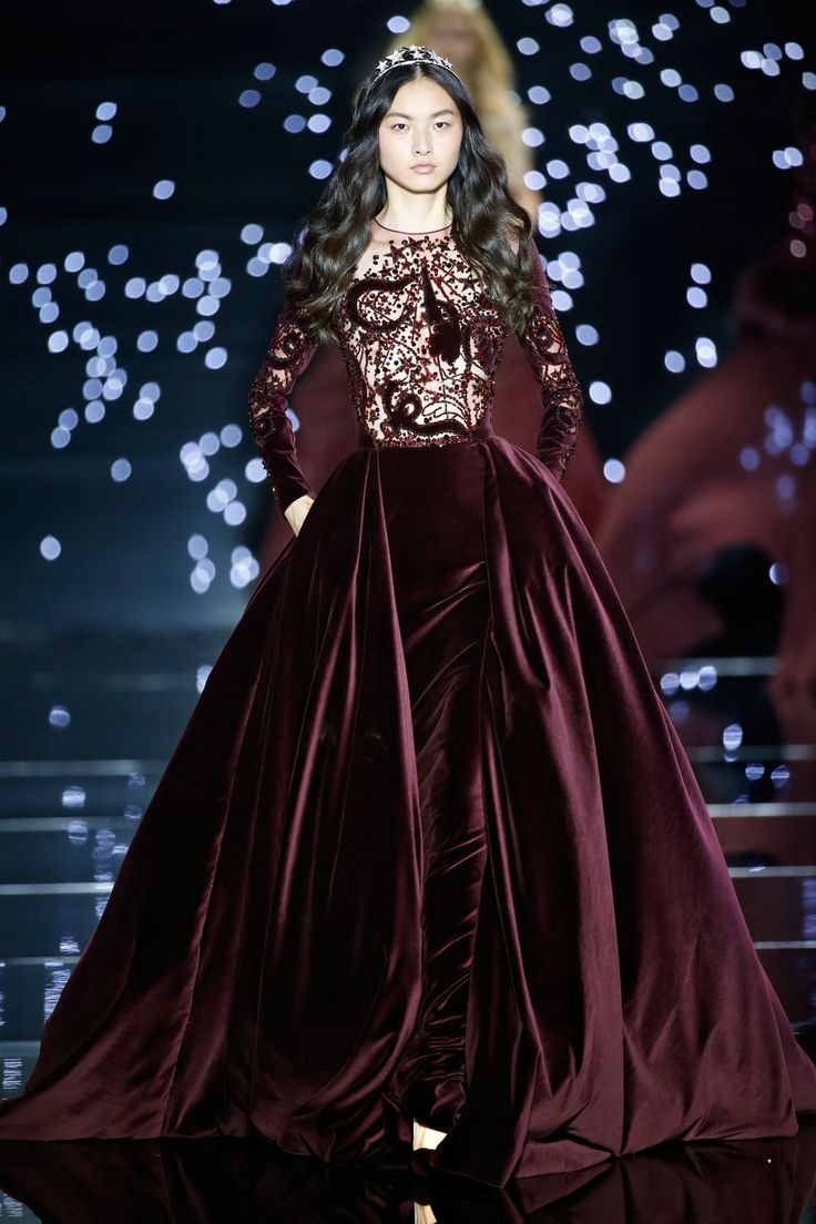 """""""Long velvet burgundy dress with wide over-skirt and transparent embroidered bust."""" (quote) Zuhair Murad haute couture F/W 2015-2016 via zuhairmurad.com"""