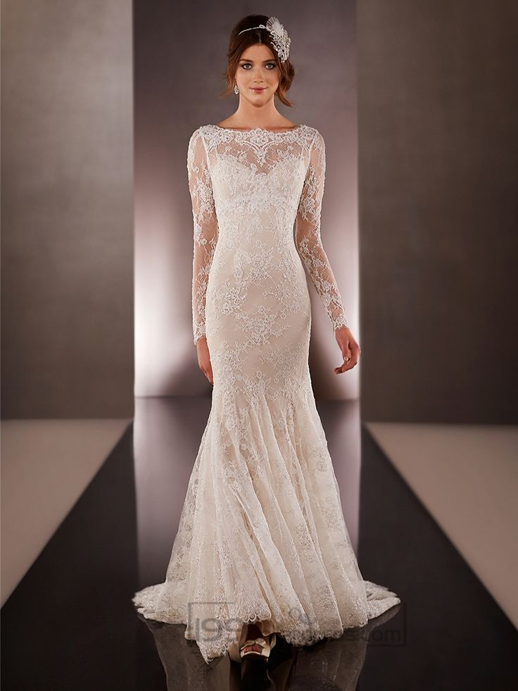 Illusion Long Sleeves Bateau Neckline Embroidered Wedding Dresses with Low V-back