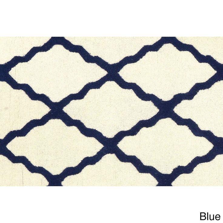 nuLOOM Hand-hooked Alexa Moroccan Trellis Wool Door Mat Rug (2' x 3') (Blue) (Oriental)
