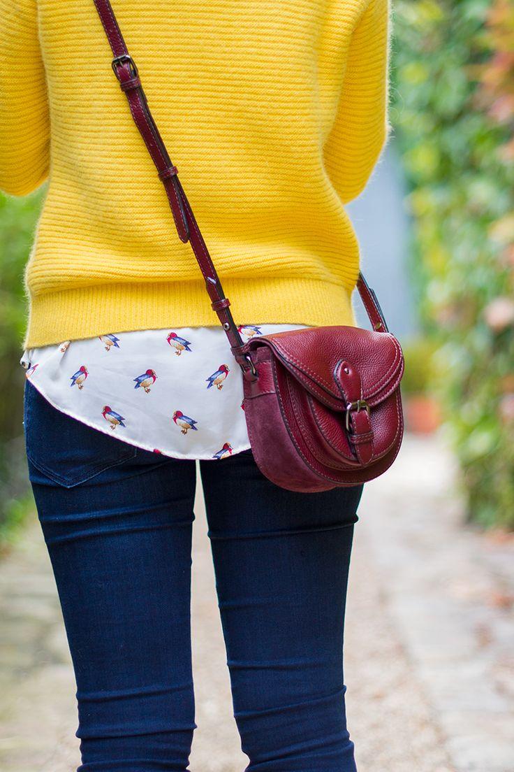 Mode and The City - Blog mode et lifestyle Yellow Monoprix sweater - Zara bird blouse & Clarks bag #preppy #paris #clarks